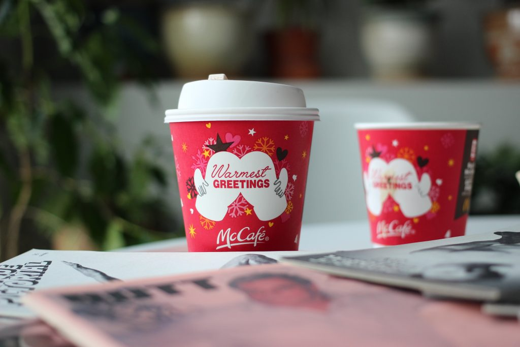 advertising on a paper cup