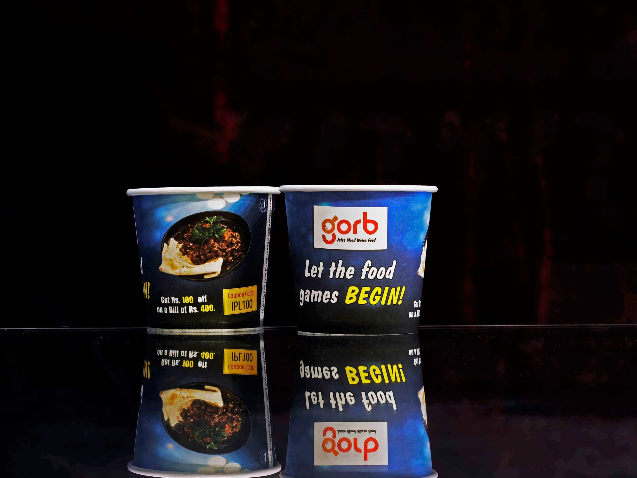 paper cup advertising for gorb