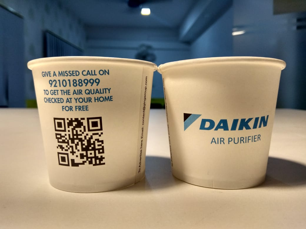 QR code on paper cup ad